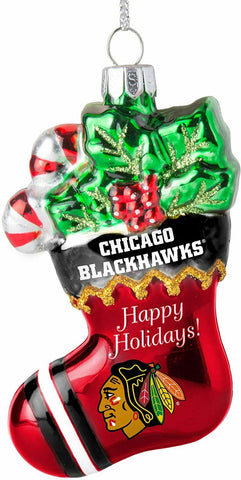 CHICAGO BLACKHAWKS NHL Blown Glass Christmas Stocking Ornament