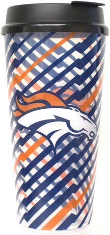 DENVER BRONCOS NFL Single Wall Striped Plastic Travel Tumbler, 32oz