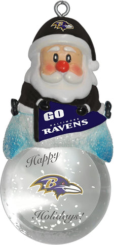 BALTIMORE RAVENS NFL Snow Globe Santa Ornament