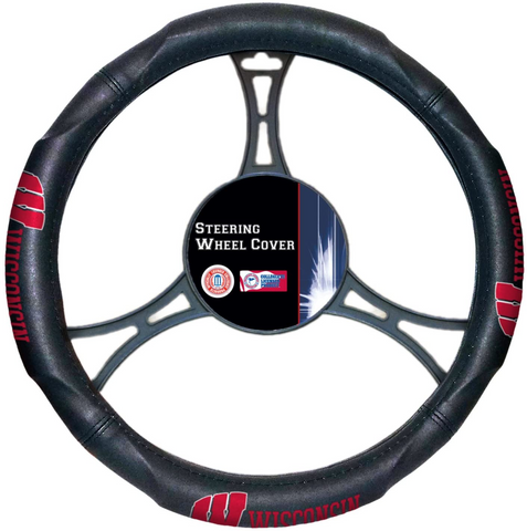 WISCONSIN BADGERS NCAA Premium Synthetic Leather Steering Wheel Cover