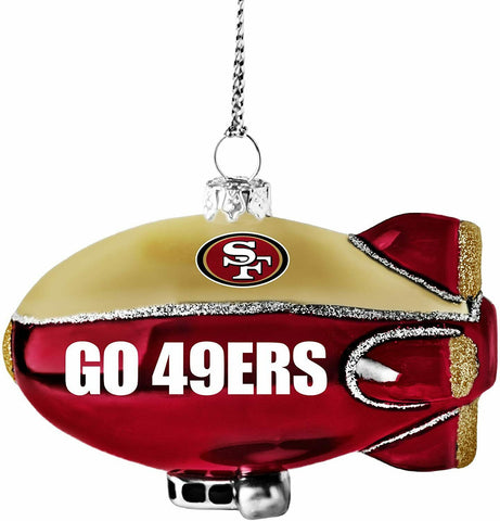 SAN FRANCISCO 49ers NFL Glitter Blimp Christmas Ornament