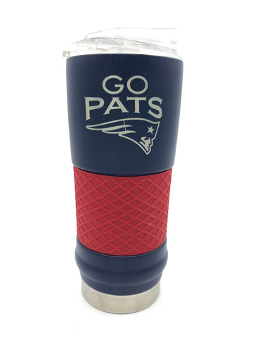 "NEW ENGLAND PATRIOTS ""Go Pats"" Laser Etched Stainless Steel Hot&Cold Tumbler, 18oz"