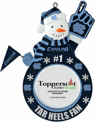 NORTH CAROLINA TAR HEELS NCAA Snowman Photo Frame Christmas Ornament