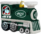 NEW YORK JETS NFL Blown Glass Train Christmas Tree Ornament