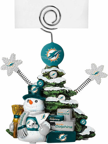 MIAMI DOLPHINS NFL Christmas Tree Photo Holder with Snowman NEW!!!