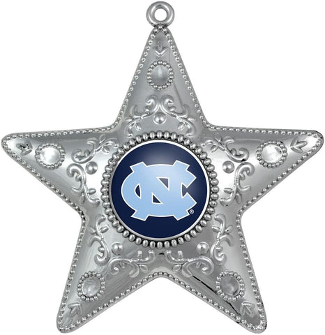 NORTH CAROLINA TAR HEELS NCAA Silver Star Christmas Ornament