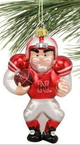 NEBRASKA CORNHUSKERS Angry Football Player Glass Ornament by Football Fanatics