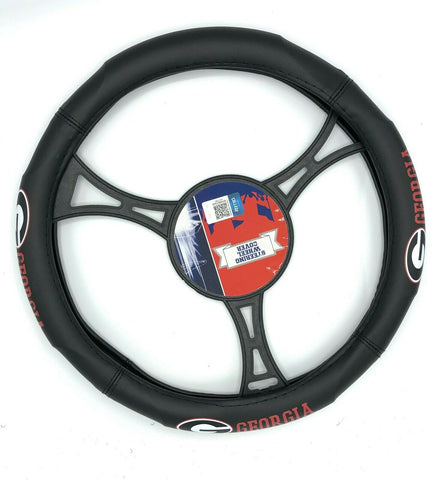 GEORGIA BULLDOGS NCAA Premium Synthetic Leather Steering Wheel Cover