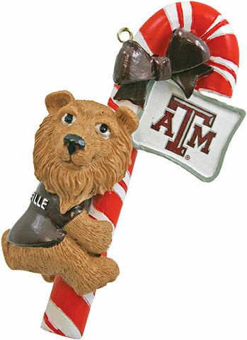 TEXAS A&M AGGIES NCAA Mascot Candy Cane Christmas Tree Ornament