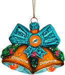 MIAMI DOLPHINS NFL Glitter Bells Christmas Ornament