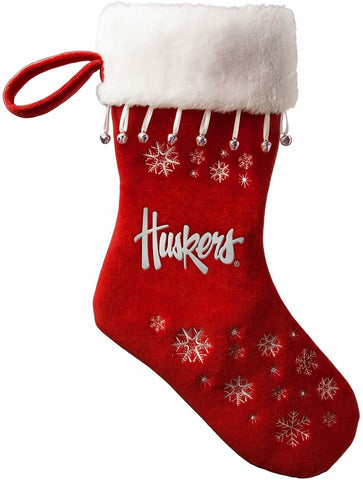 NEBRASKA CORNHUSKERS NCAA Full Embroidered Snowflake Christmas Santa Stocking