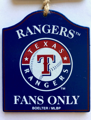 "TEXAS RANGERS MLB Wooden ""Fans Only"" Sign Christmas Ornament"