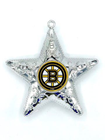 BOSTON BRUINS NHL Silver Star Christmas Ornament