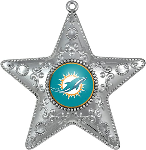 MIAMI DOLPHINS NFL Silver Star Christmas Ornament