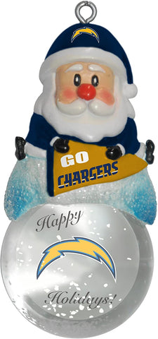 LOS ANGELES (SAN DIEGO) CHARGERS NFL Snow Globe Santa Ornament
