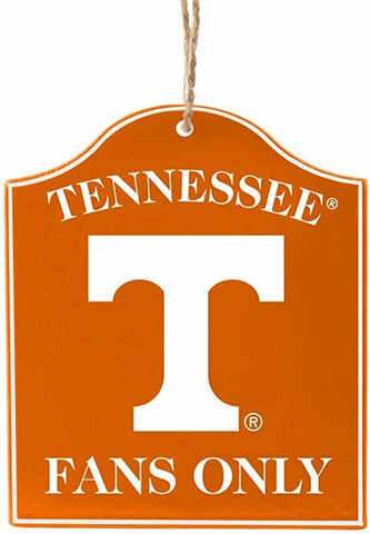 "TENNESSEE VOLUNTEERS NCAA Wooden ""Fans Only"" Sign Christmas Ornament"