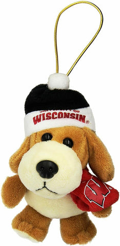 WISCONSIN BADGERS NCAA 4 inch Plush Dog Christmas Ornament