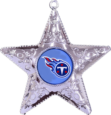 TENNESSEE TITANS NFL Silver Star Christmas Ornament