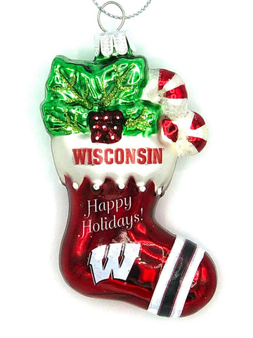 WISCONSIN BADGERS NCAA Blown Glass Christmas Stocking Ornament