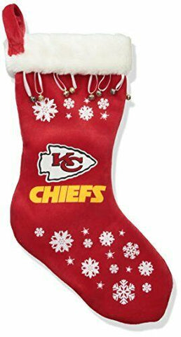 KANSAS CITY CHIEFS NFL Full Embroidered Snowflake Christmas Santa Stocking