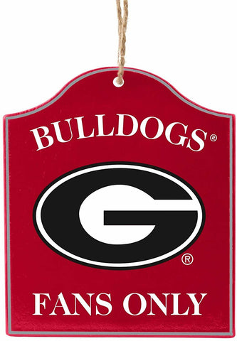 "GEORGIA BULLDOGS NCAA Wooden ""Fans Only"" Sign Christmas Ornament"