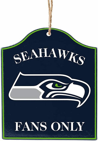 "SEATTLE SEAHAWKS NFL Wooden ""Fans Only"" Sign Christmas Ornament"