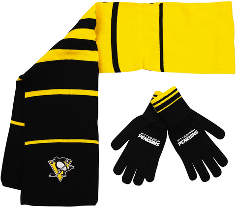 PITTSBURGH PENGUINS NHL Knit Scarf & Gloves Set