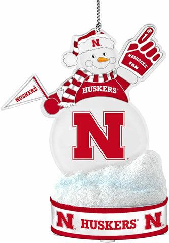 "NEBRASKA CORNHUSKERS NCAA LED Snowman Christmas Ornament ""It Lights Up!!!"""