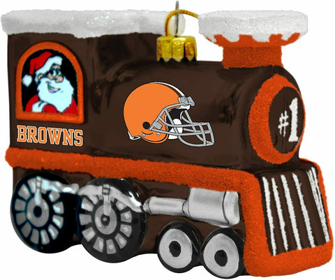 CLEVELAND BROWNS NFL Blown Glass Train Christmas Tree Ornament