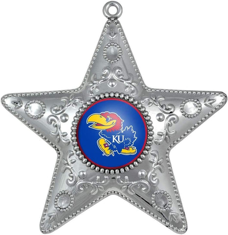 KANSAS JAYHAWKS NCAA Silver Star Christmas Ornament