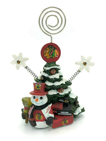 CHICAGO BLACKHAWKS NHL Christmas Tree Photo Holder with Snowman