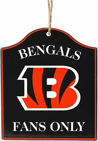 "CINCINNATI BENGALS NFL Wooden ""Fans Only"" Sign Christmas Ornament"