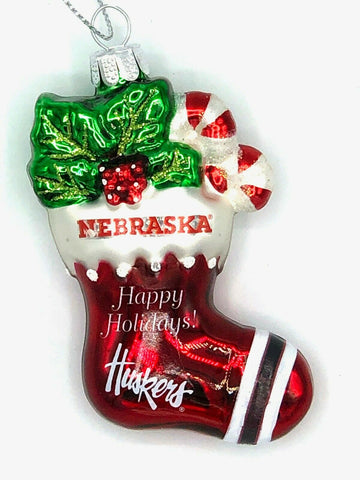 NEBRASKA CORNHUSKERS NCAA Blown Glass Christmas Stocking Ornament