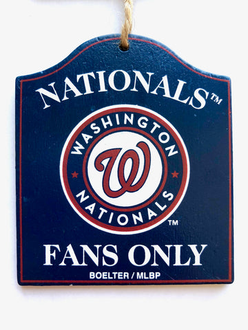 "WASHINGTON NATIONALS MLB Wooden ""Fans Only"" Sign Christmas Ornament"