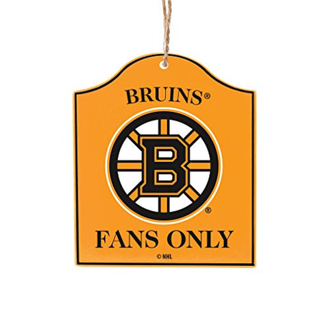 "BOSTON BRUINS NHL Wooden ""Fans Only"" Sign Christmas Ornament"