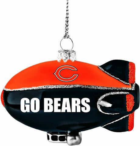 CHICAGO BEARS NFL Glitter Blimp Christmas Ornament