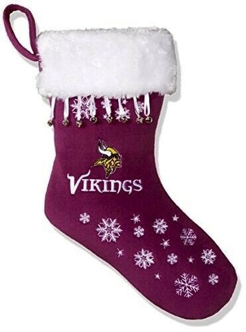 MINNESOTA VIKINGS NFL Full Embroidered Snowflake Christmas Santa Stocking
