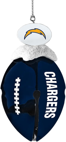 LOS ANGELES (SAN DIEGO) CHARGERS Metal Football Bell Christmas Ornament