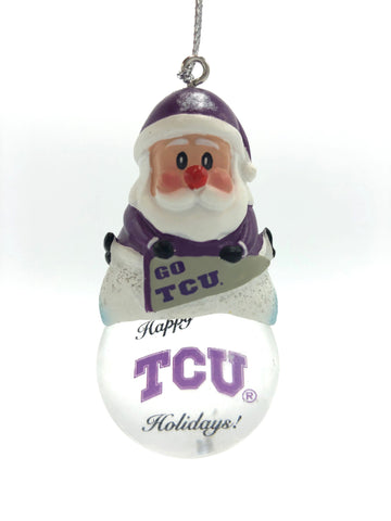 TCU HORNED FROGS NCAA Snow Globe Santa Ornament