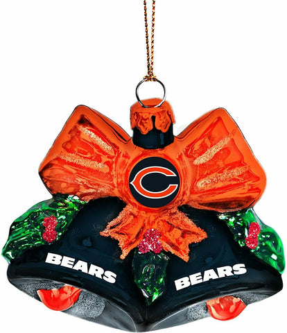 CHICAGO BEARS NFL Glitter Bells Christmas Ornament