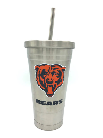 CHICAGO BEARS Double Wall Stainless Steel Thermo Tumbler with Straw, 17oz