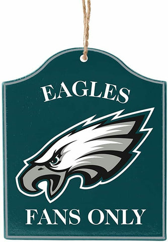 "PHILADELPHIA EAGLES NFL Wooden ""Fans Only"" Sign Christmas Ornament"