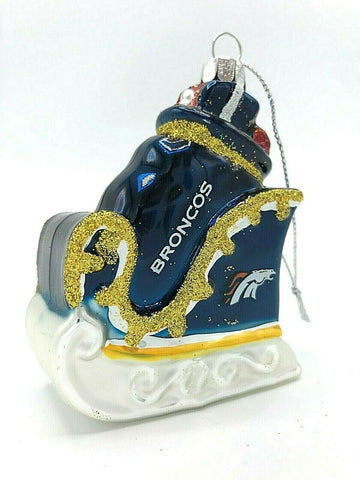 DENVER BRONCOS NFL Blown Glass Glitter Sleigh Christmas Ornament