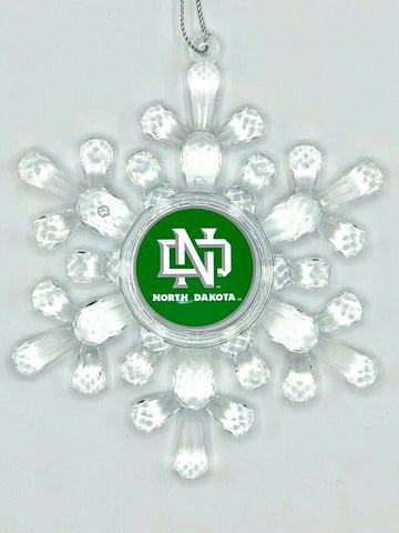 NORTH DAKOTA FIGHTING HAWKS (SIOUX) Acrylic Snowflake Christmas Ornament