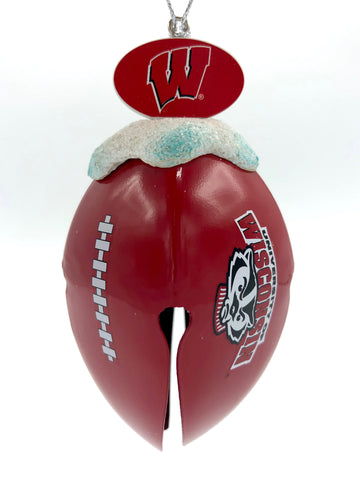 WISCONSIN BADGERS NCAA Metal Football Bell Christmas Ornament
