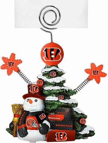 CINCINNATI BENGALS NFL Christmas Tree Photo Holder with Snowman NEW!!!