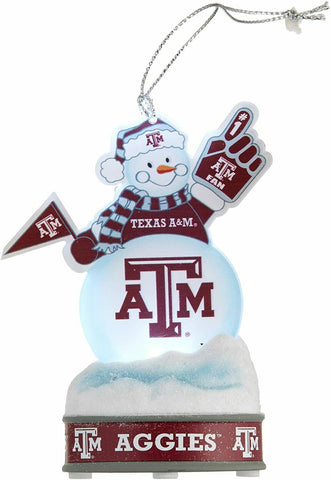 "TEXAS A&M AGGIES NCAA LED Snowman Christmas Ornament ""It Lights Up!!!"""