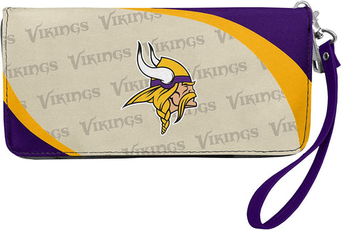 MINNESOTA VIKINGS NFL Women's Synthetic Leather Curve-Zip Organizer Wallet