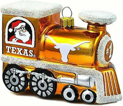 TEXAS LONGHORNS NCAA Blown Glass Train Christmas Tree Ornament