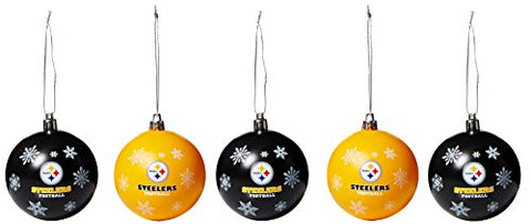 PITTSBURGH STEELERS NFL 5-Pack Shatterproof Ball Ornament Set